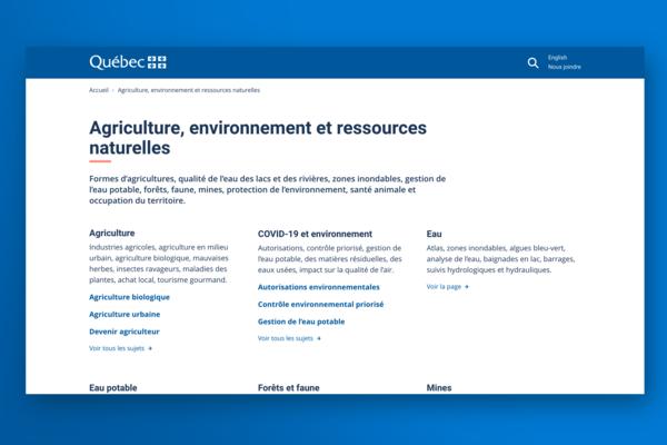 La page de thème est disponible à partir du 2e niveau de navigation. Elle présente tous les sous-thèmes reliés à la thématique. Sous chacun d'eux, des liens vers les sujets de 3e niveau peuvent être listés.