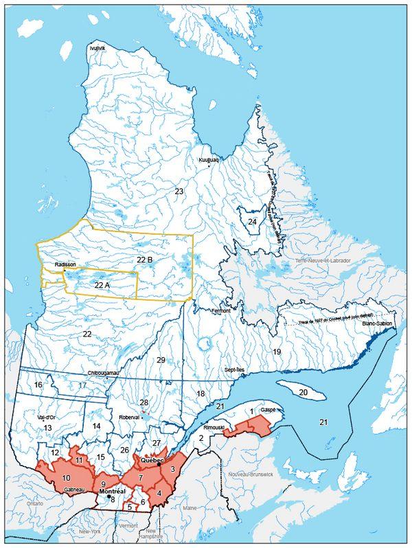 Carte montrant les zones de chasse où il est interdit de tirer à partir d'un chemin public.