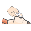 Illustration, insert the tip of the spout into one nostril