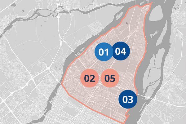 Carte Est de Montréal, projets de développement économique