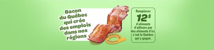 Image d'une tranche de bacon et du logo de la certification Aliments du Québec. Il y est écrit bacon du Québec qui crée des emplois dans nos régions.