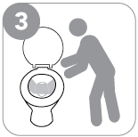 Step 3 : Unfold the paper. Place it in the center of the toilet bowl.