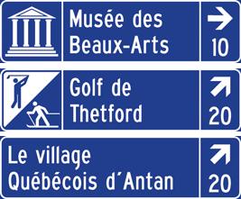 Panneaux de couleur bleu (équipements touristiques privés)