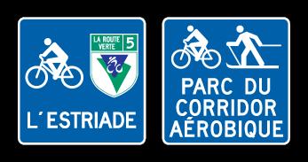 Signalisation des itinéraires cyclables hors route : L'Estriade et Parc du corridor aérobique